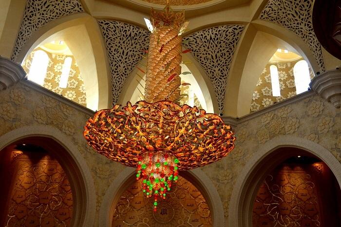 An elaborate chandelier Sheikh Zayed Mosque in Abu Dhabi