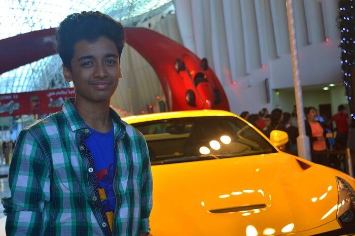 Raman's son at Ferrari World