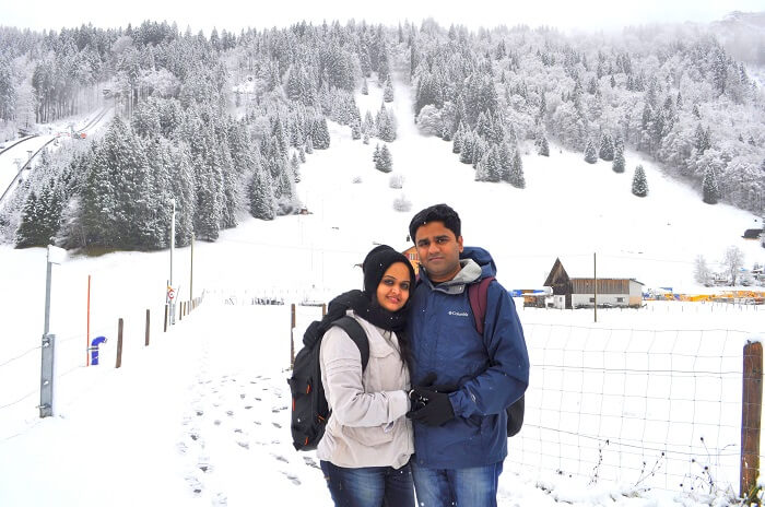 Sameer Mirji with his wife in Europe
