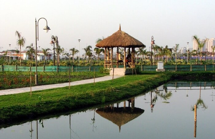 Beautiful thatched hut at Eco Park which comes as a resting place for many romantic souls in Kolkata