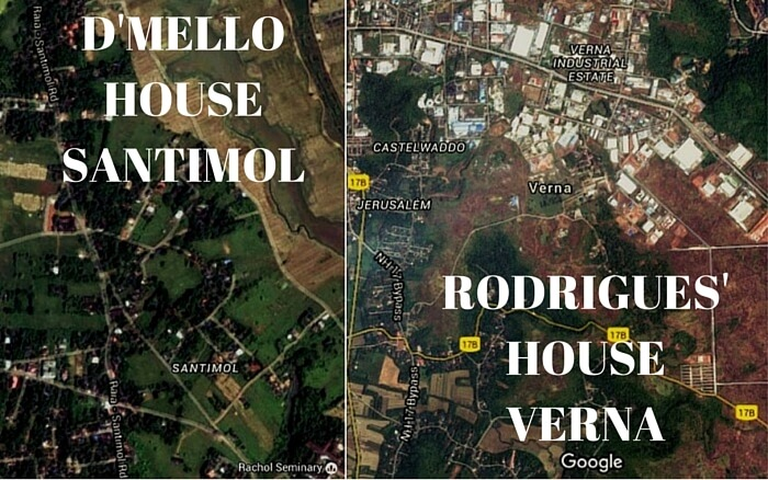 Google Map images of the locations of the haunted houses in Goa