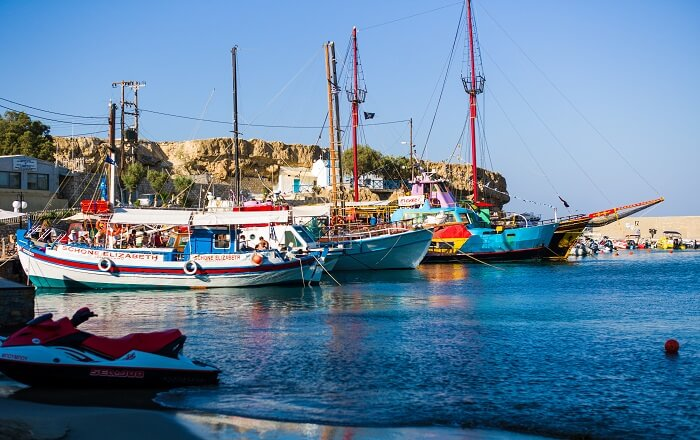 Old harbor at Hersonissos in Greece is of the main tourist attractions in Greece
