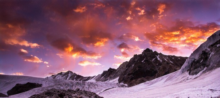 Sunset in the Himalayan mountains