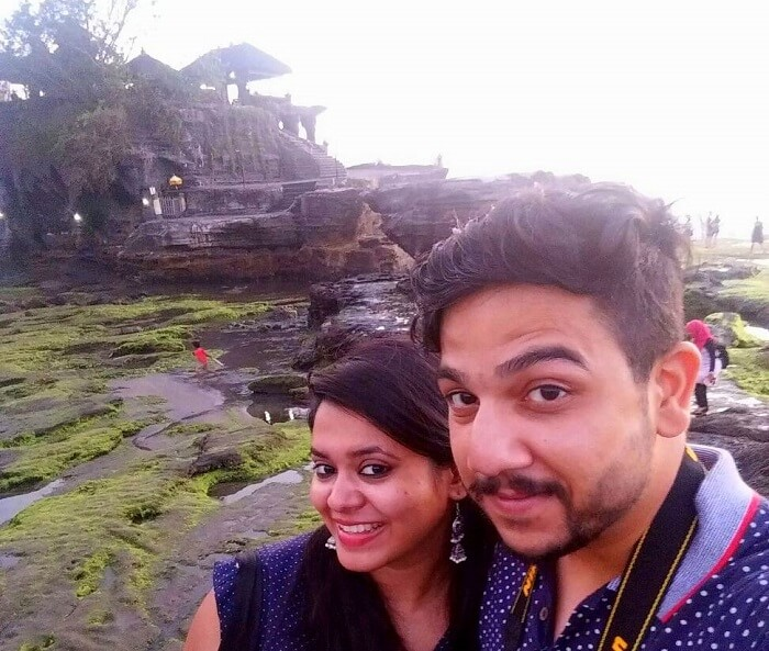At the Tanah Lot Temple, one of the most popular tourist destinations in Bali