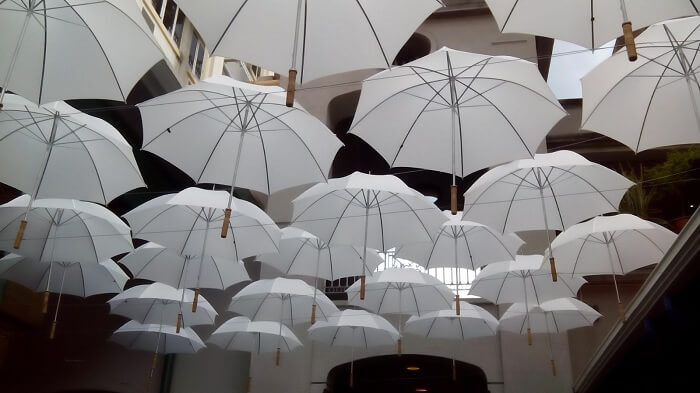 Umbrella covered market in Port Louis Mauritius