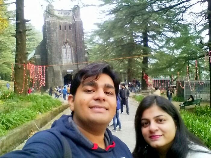 Vivek and his wife in St John in Wilderness Church Mcleodganj