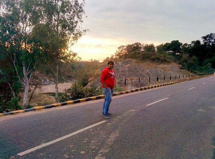 Vivek on the road to Dharamshala