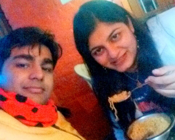 Vivek and his wife eating Maggie in Dharamshala