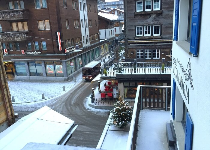 The view from Sameer's hotel in Zermatt