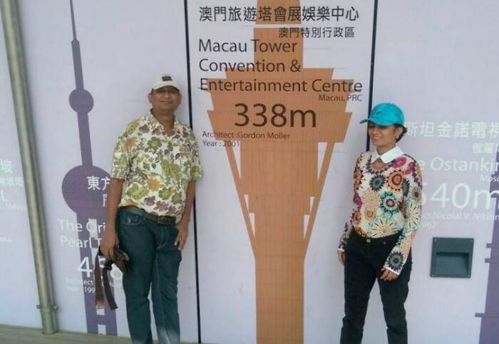 Standing tall at the taller than life Macau Tower