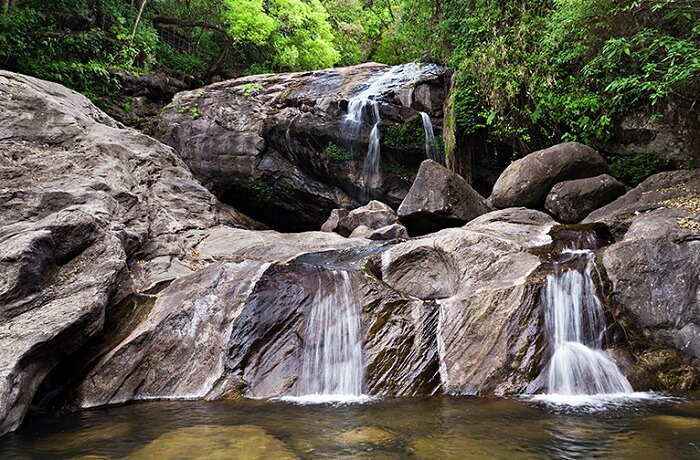 A view of the beautiful Lakkam waterfalls in Munnar