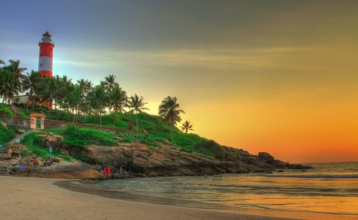 The sunset enhances the beauty of Lighthouse Beach in Kovalam