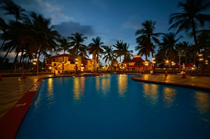 The pool at MGM Beach Resort at night