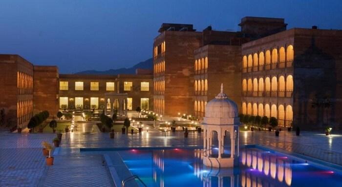 Evening lamps lighting up Pratap Palace - another name among best Pushkar resorts