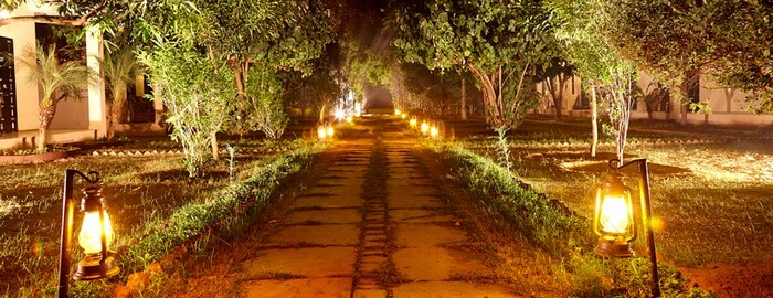Beautifully designed lanes at the Pugmark resort are a famous attraction