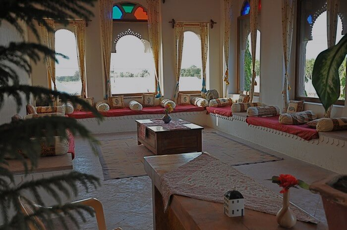 An ethnically done up room at Pushkar Bagh - one among the best resorts in Pushkar
