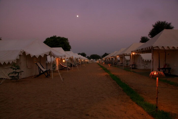 Outside the camps at The Royal Rajasthan at sunset