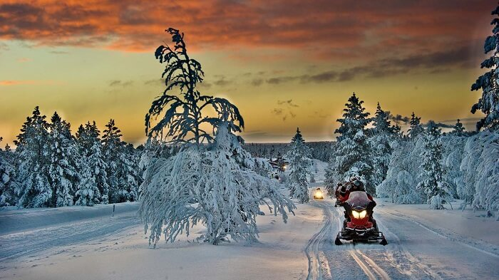 Snowmobile Safari in Finland is one of the fun activities arranged by the Village Hotel