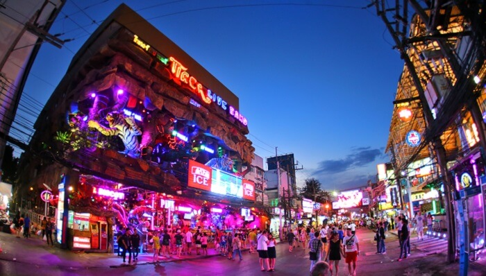 The colorful nightlife of Soi Bangla Road is a popular attraction in Phuket