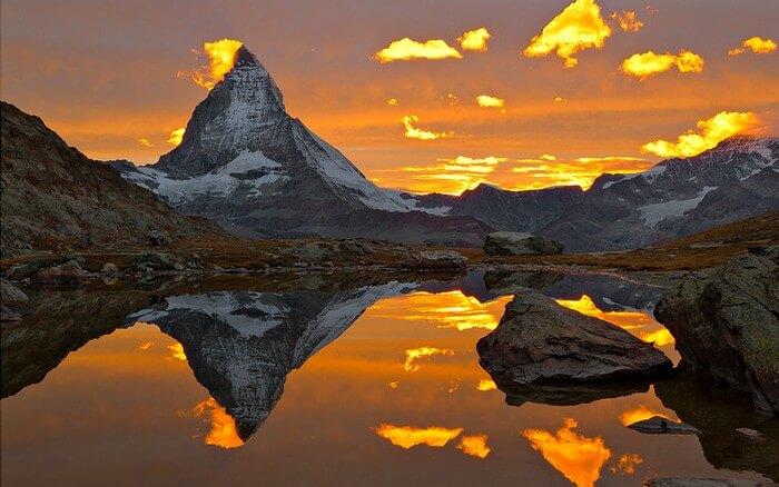 A sunrise at Matterhorn should not be missed on a Switzerland Honeymoon