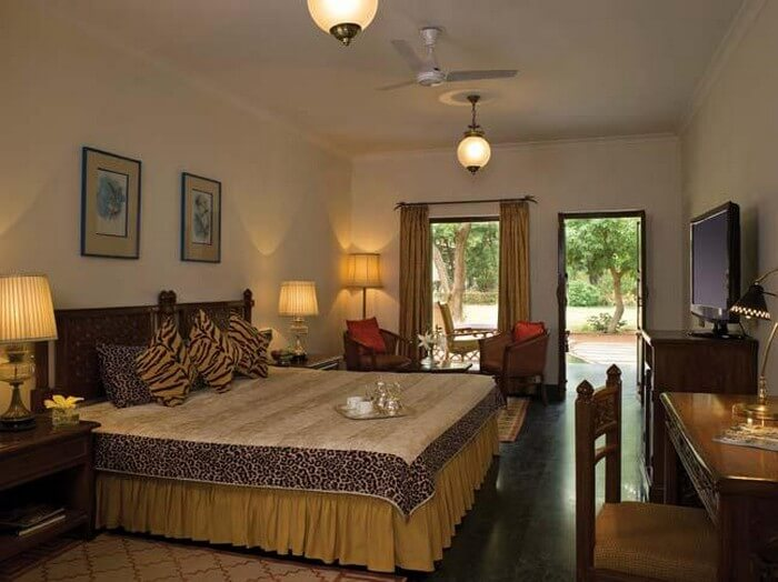 Interiors of the Taj Sawai Madhopur Lodge are lavish