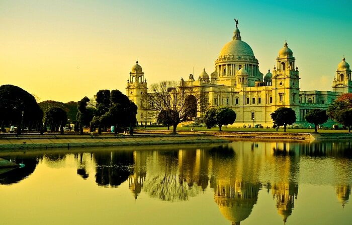 Victoria Memorial looking stunning at dusk due to lighting effects