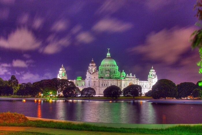 Victoria Memorial looking stunning at night due to lighting effects