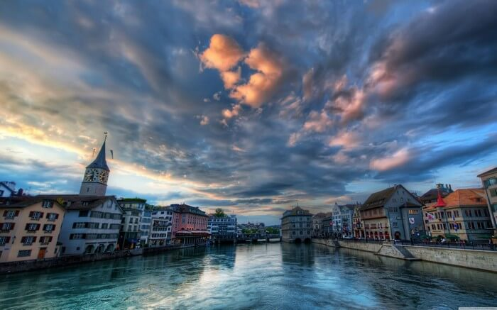 Spend an evening in Zurich with your love while the sun melts at distance