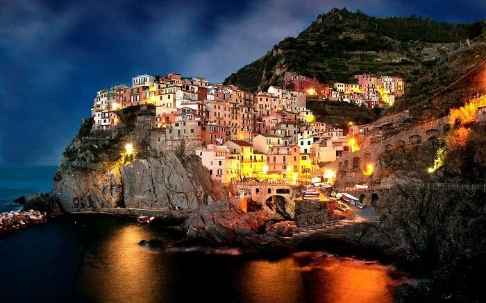 A night shot of the beautiful Amalfi Coast in Italy