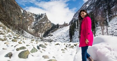 Mrs Gupta on a mini hike at Chandanwaadi in Kashmir
