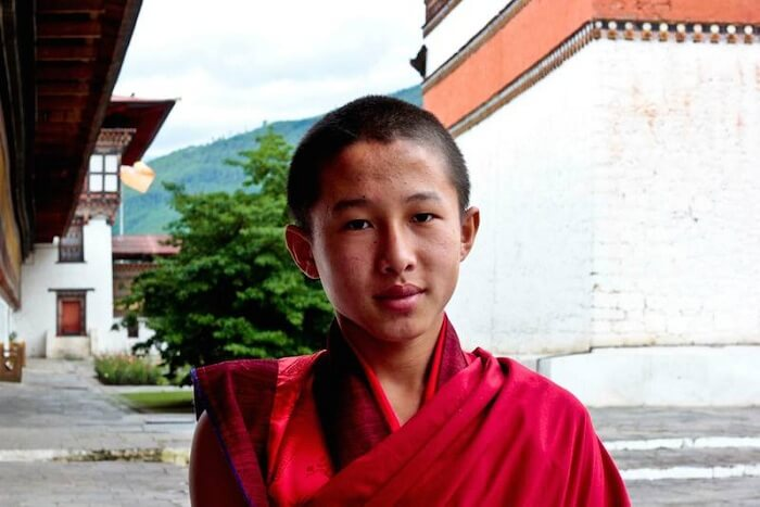 Leena with a Buddhist disciple in Bhutan