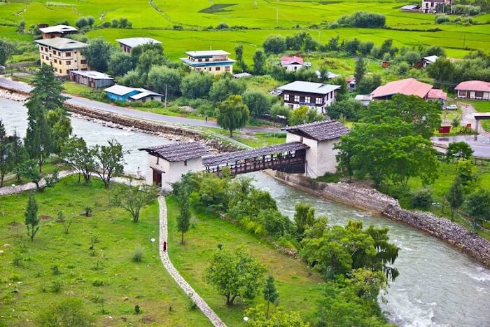 Lush green scenery in Bhutan