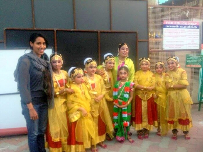 Candida with Kathakali children dancers