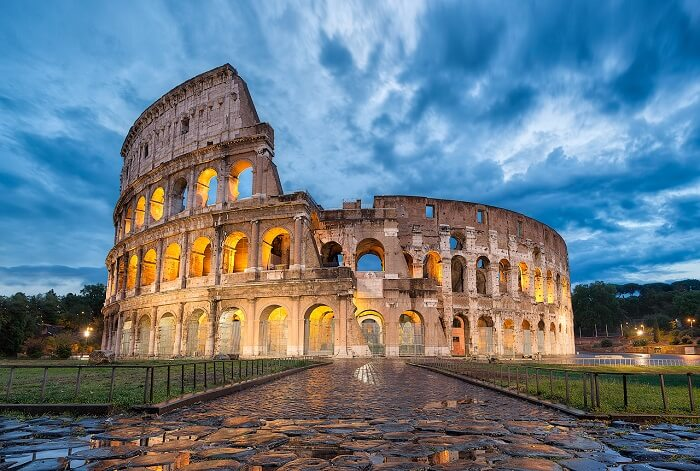 A view of the famous Colosseum in Rome