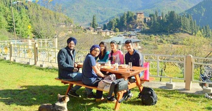 Jaskaran and his gang on their Bhutan trip
