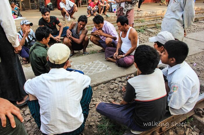 Locals play a game in Myanmar