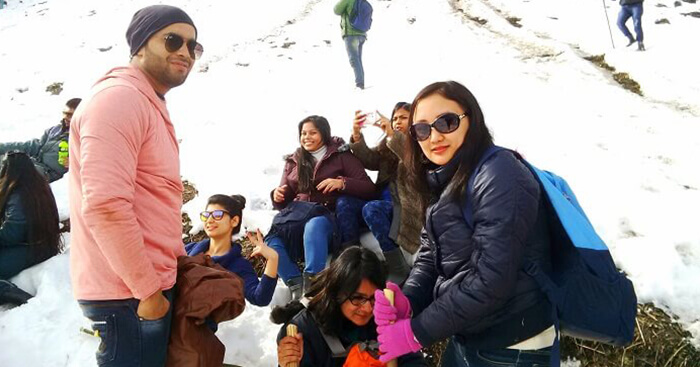 Nirmala poses with fellow travelers on a trip to Manali