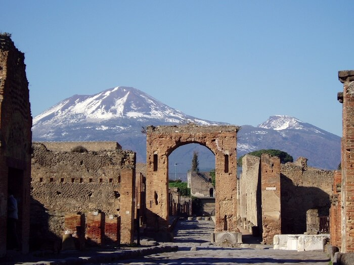 The ruins of Pompeii with Mt Vesuvius in the background