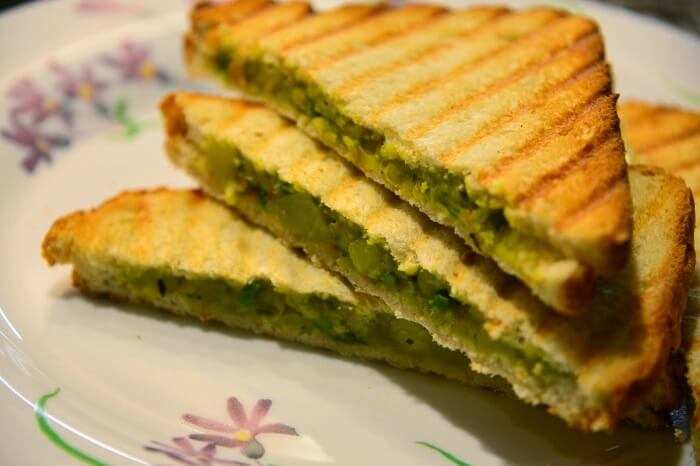 Sandwich is a popular street food in Bangalore for the youth