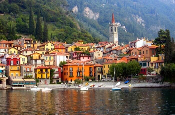 The beautiful Varenna fishing village on eastern shore of Lake Como