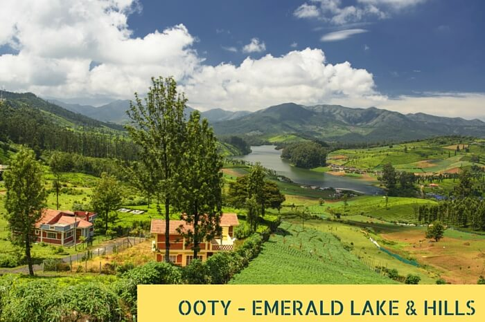 An aerial view of the Emerald Lake and the Blue Mountains around Ooty