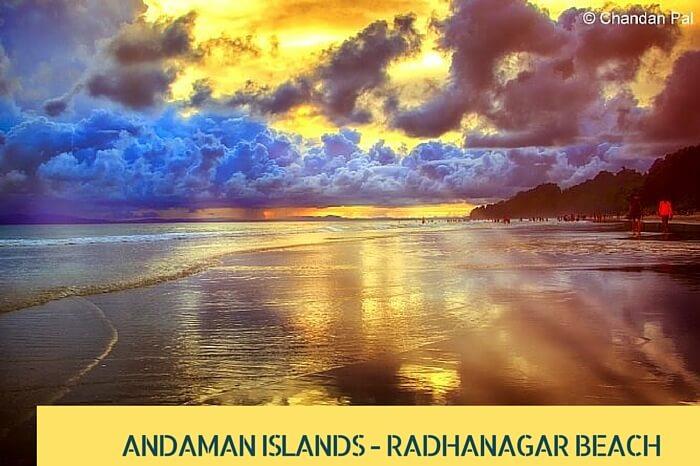 Sun rays reaching the Radhanagar Beach during sunset