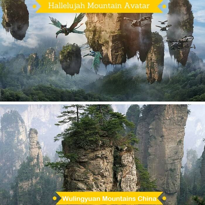 Hallelujah Mountains and Wulingyuan Mountains in China that have been given the same name because of the striking similarity