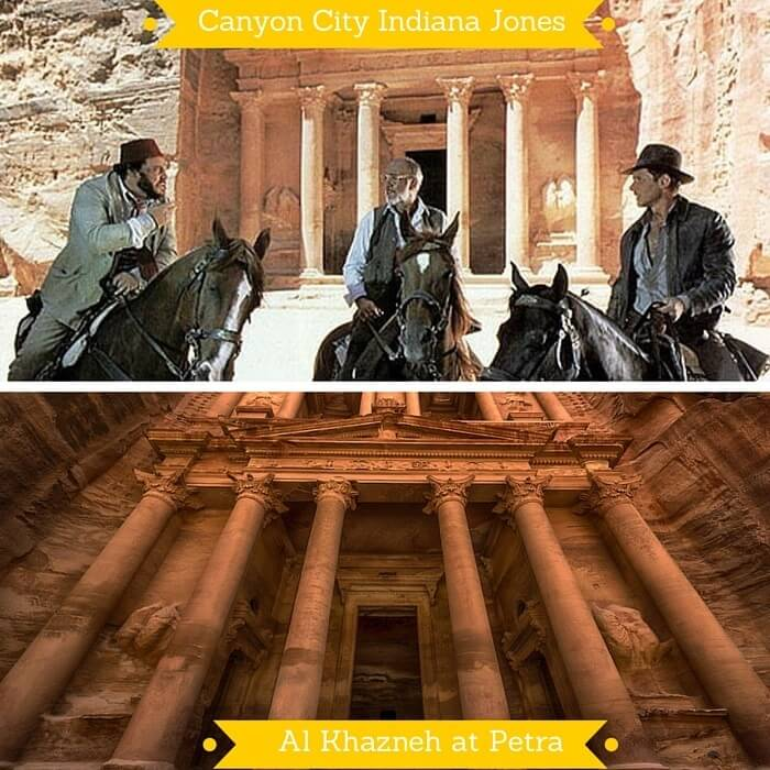 The Canyon City from Indiana Jones and the Al Khazneh treasury in Petra