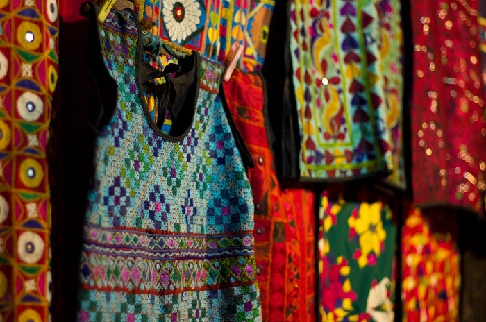 Some of the the colorful textiles in Ahmedabad
