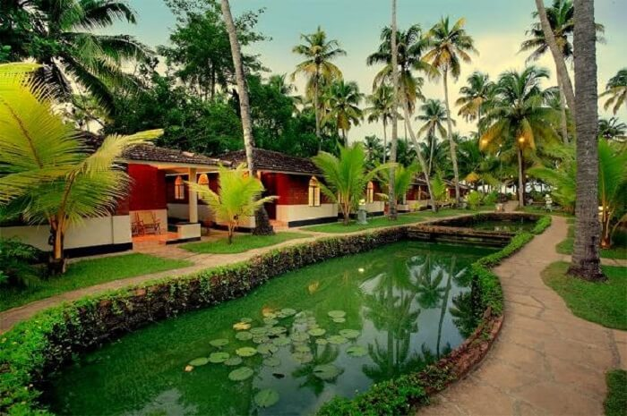 Small pond infront of the cottages at Cherai Beach Resorts - one of the best resorts in Cochin