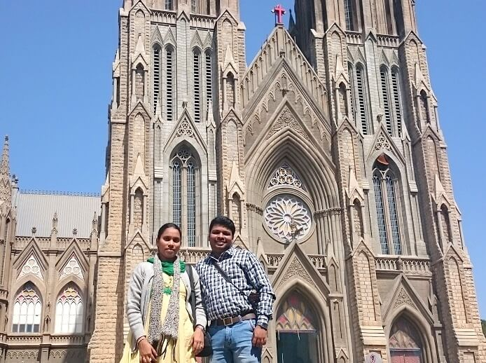 Naveen and his wife in St Philomena Church Mysore