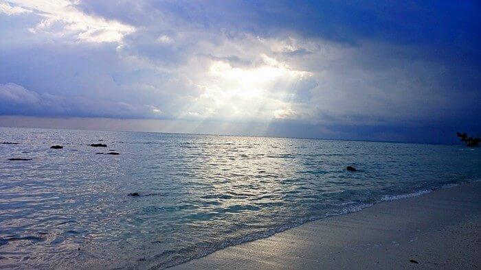 the private beach of Abhinav's resort in Andaman