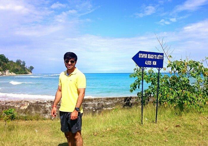 Abhinav at the Sitapur beach in Andaman