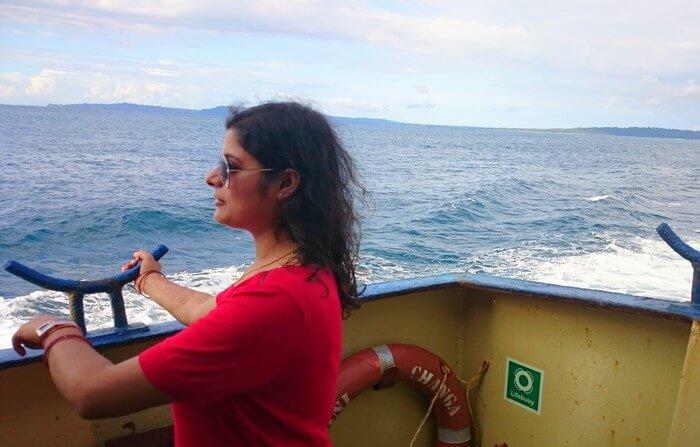 Abhinav's wife on a ferry ride
